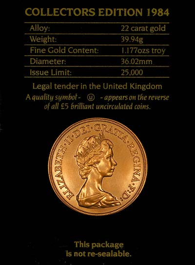1984 Five Pounds Gold Coin in Card of Issue