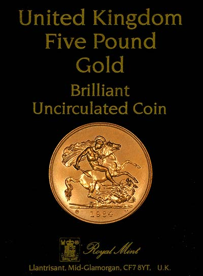 1984 Gold Five Pound 163 5 Coin Chards Tax Free Gold