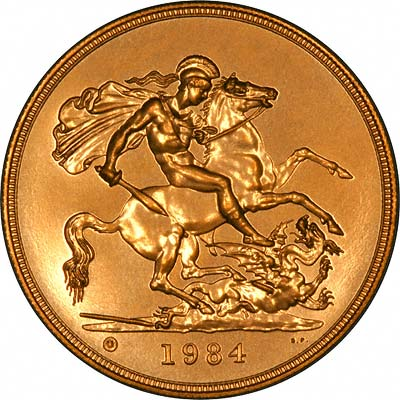 Reverse of 1984 'Brilliant Uncirculated' Five Pounds Gold Coin