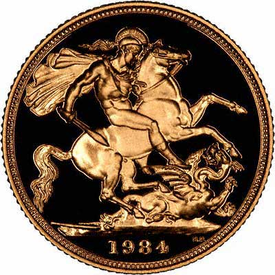 Obverse of Proof 1984 Half Sovereign