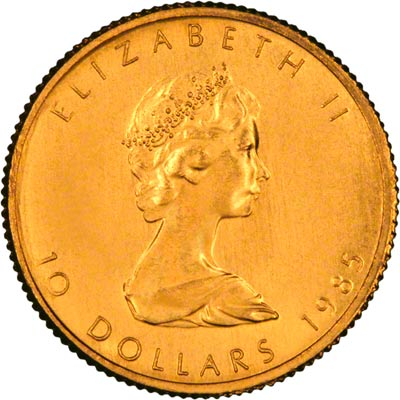 Obverse of 1985 Canadian Quarter Ounce Gold Maple Leaf