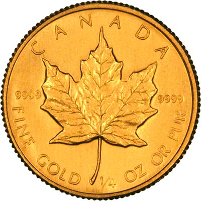 Reverse of 1985 Canadian Quarter Ounce Gold Maple Leaf