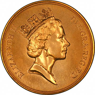 Obverse of 1994 'Brilliant Uncirulated' Five Pounds Gold Coin
