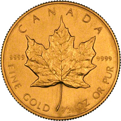 Reverse of 1986 Canadian Half Ounce Gold Maple Leaf