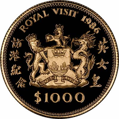 Reverse of 1986 Royal Visit Gold Proof $1000