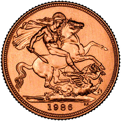 Reverse of 1986 Gold Sovereign
