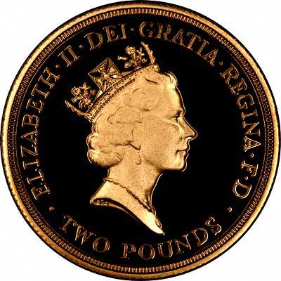 Obverse of 1986 £2 Gold Proof