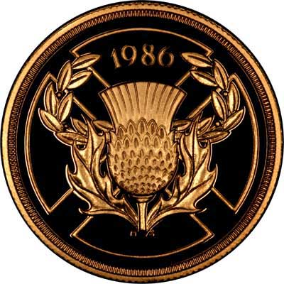 Reverse of 1986 Gold Proof Two Pounds