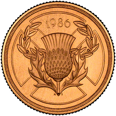 Reverse of 1986 Gold Two Pound Coin