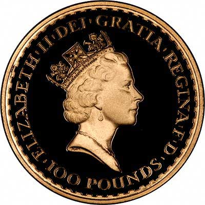 Obverse of 1987 Proof One Ounce Gold Britannia