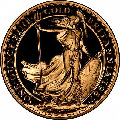 Reverse of 1987 Proof One Ounce Gold Britannia