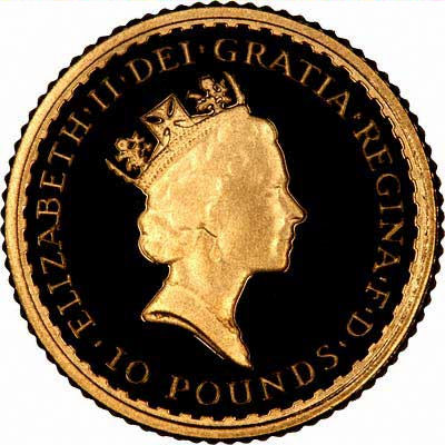 Obverse of 1987 Tenth Ounce Britannia - Ten Pounds