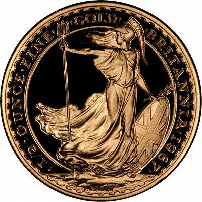 Obverse of 1987 Proof Half Ounce Gold Britannia