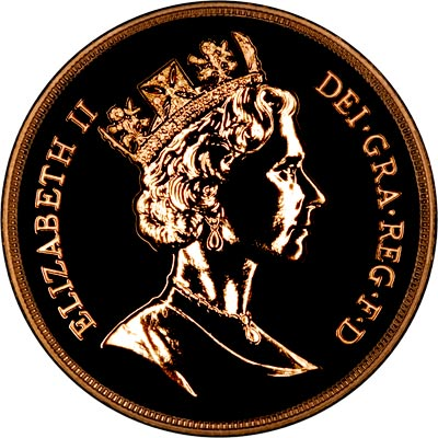 Uncouped Portrait on Obverse of 1987 'Brilliant Uncirculated' Five Pounds Gold Coin