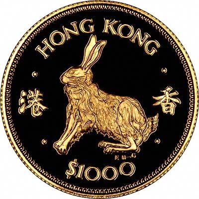 Rabbit on Reverse of 1987 Hong Kong Gold Proof $1000