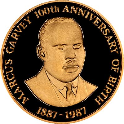 Marcus Garvey on Reverse of 1987 Jamaica  Gold Proof 100 Dollars