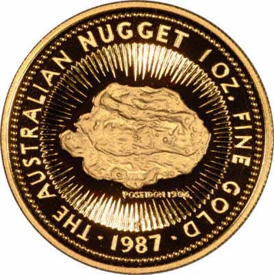 Poseidon Nugget on Reverse Design of a 1987 Australian One Ounce Proof Gold Nugget