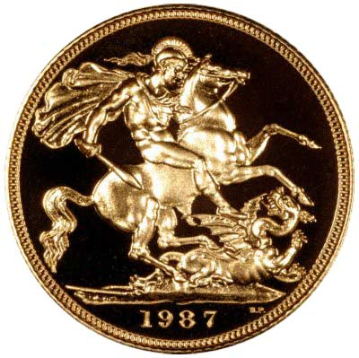 Reverse of 1987 Gold Sovereign