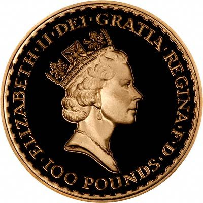 Obverse of 1988 Proof One Ounce Gold Britannia