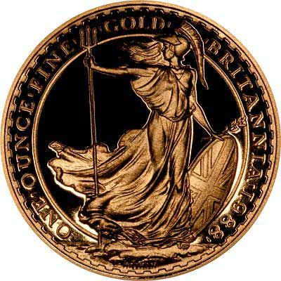 Reverse of 1988 Britannia One Ounce £100 Gold Proof