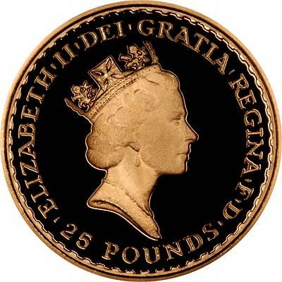 Obverse of £25 Quarter Ounce Gold Britannia Proof