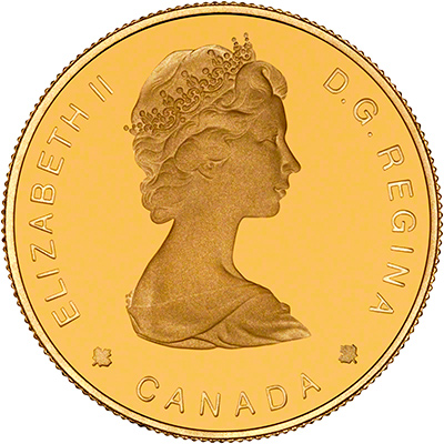 Obverse of 1988 Canadian Gold Proof 100 Dollars