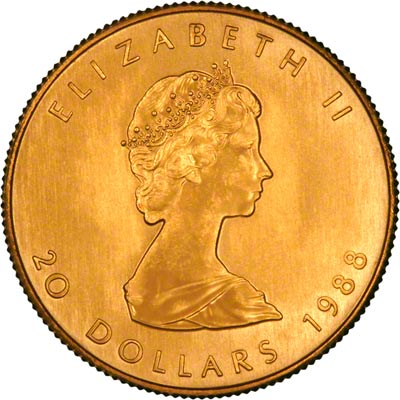 Obverse of 1988 Canadian Half Ounce Gold Maple Leaf