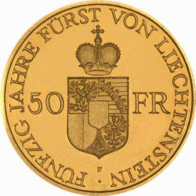 Reverse of 1988 Liechtenstein 50 Francs