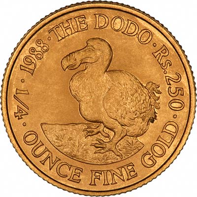 Dodo on Reverse of 1988 Mauritian Gold Proof 250 Rupees