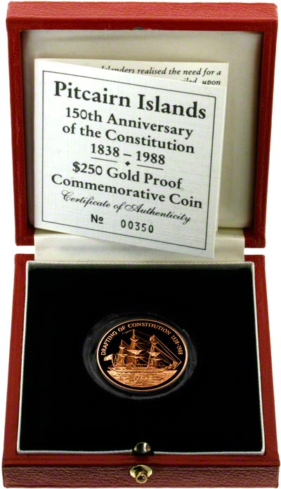 1988 Pitcairn Islands Gold 250 Dollars in Presentation Box
