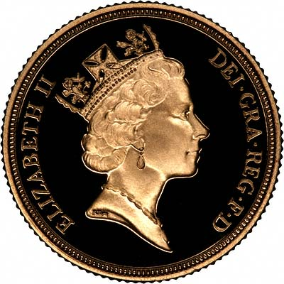 Obverse of 1988 Gold Proof Sovereign
