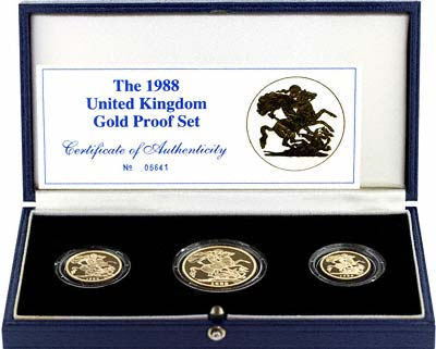 1988 Three Coin Gold Set in Case