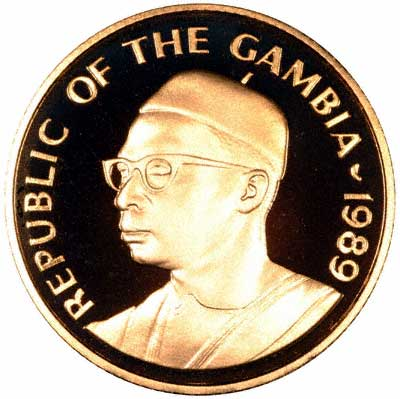 Obverse of 1989 Gambia 1,000 Dalassis