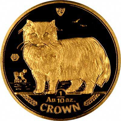 Reverse of 1989 Manx Gold Tenth Ounce Cat Crown
