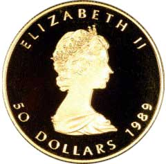 Obverse of 1989 Proof Canadian Gold Maple Leaf