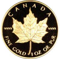 Reverse of 1989 Proof Canadian Half Ounce Gold Maple Leaf - 20 Dollars
