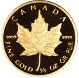 Reverse of 1989 Proof Canadian Quarter Ounce Gold Maple Leaf - 10 Dollars