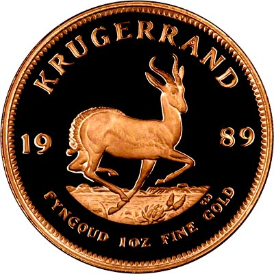 Reverse of 1989 One Ounce Proof Krugerrand