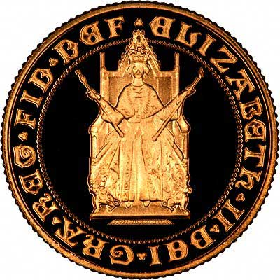 The Queen Seated on a Throne on the Obverse of 1989 Gold Sovereign