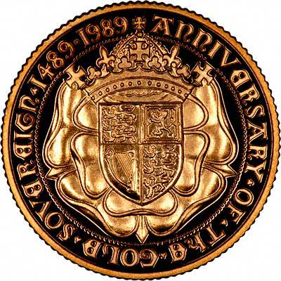 Crowned Tudor Rose Bearing Royal Arms on Reverse of 1989 Sovereign