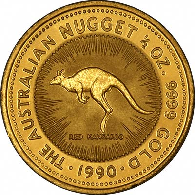Reverse of 1990 Australian Gold Nugget Coin with Red Kangaroo