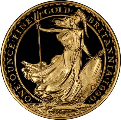 Obverse of 1990 Proof One Ounce Gold Britannia