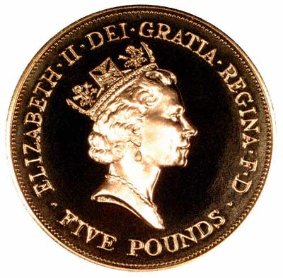 Obverse of the 1990 Queen Mother £5 Crown