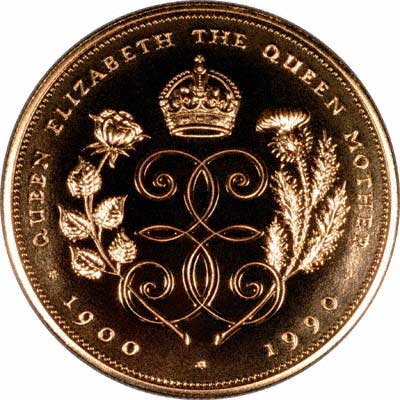 Reverse of the 1990 Queen Mother £5 Crown