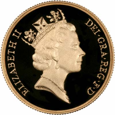 Obverse of 1990 £2 Gold Proof