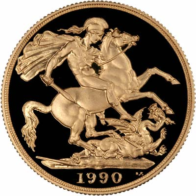 Reverse of 1990 Gold Proof Two Pound
