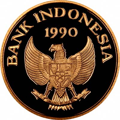 Obverse of 1990 Indonesian Gold 200,000 Rupiah