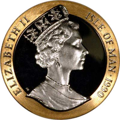 Obverse of Half Ounce Manx Gold Crown of 1990