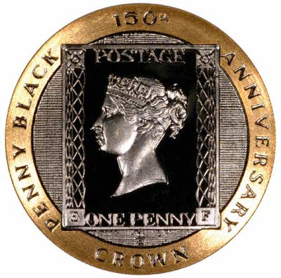 Penny Black Reverse of Half Ounce Manx Gold Crown of 1990