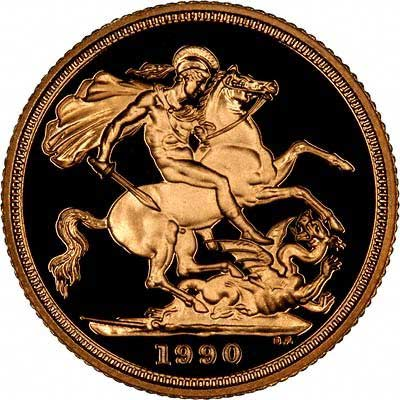 Reverse of 1990 Gold Sovereign